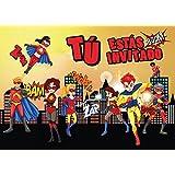 """10 Invitaciones """"SUPERHEROES"""": Juego de 10 invitaciones para el cumpleaños infantil del súper-héroe para súper-chicos o súper-chicas de EDITION COLIBRI (10963 ES)"""