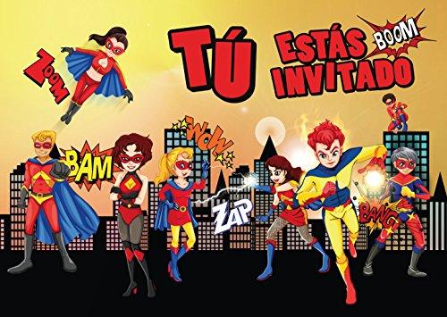 """Edition Colibri 10 Invitaciones en español """"Superheroes"""": Juego de 10 ..."""