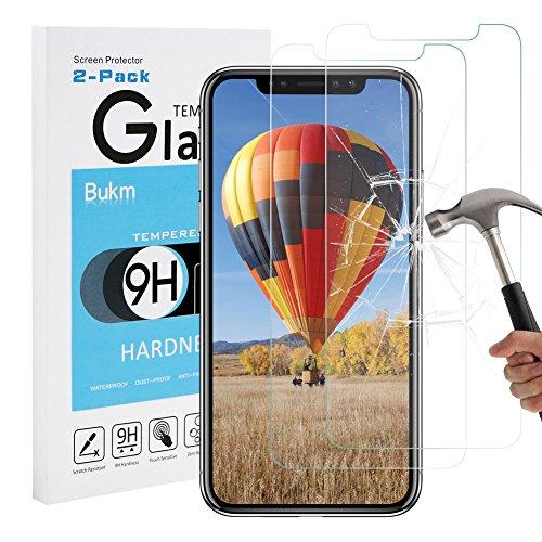 [2 Pezzi] iPhone X Pellicola Protettiva, Bukm iPhone X Vetro Temperato Protezione Crystal Clear 9H [Anti-riflesso] [Anti-graffio] HD ultra-chiaro Protezione Screen Protector per iPhone X Trasparente