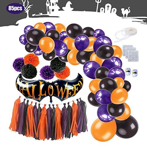 HELING 85PCS Halloween Party Supplies Dekoration Ballon Set 2019 Papier Blume Ball Rand Spaß Große Packung mit hängenden Ballons Servietten Quasten für Ghost, All-in-One Pack