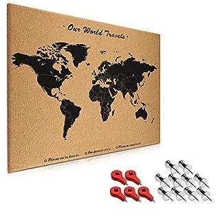 Navaris Tableau d'affichage en liège - Panneau mural 70 x 50 cm avec 15 punaises rouges et argentées incluses - Tableau mémo design carte du monde