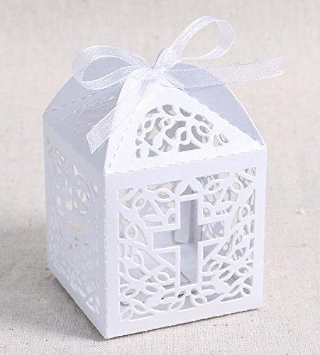 Musuntas 50Tlg.Vogelkäfig-Entwurf Hochzeit Taufe Gastgeschenk Geschenkbox Kartonage Schachtel Tischdeko Bonboniere Box Hochzeit Dekoration Baby Shower Bonboniere Box(white)
