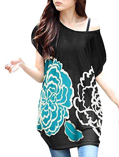 Allegra K Femme Coupe Ample Court Manche Chauve-souris Motif Fleur Chemise Tunique Turquoise