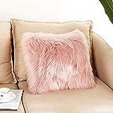 Flauschige Kissenbezüge, 45 x 45 cm, superweich, wolleähnlich, quadratisch, Plüsch, Kunstfell, Überwurf, Kissenbezug für Wohnzimmer, Sofa, Schlafzimmer (ohne Kissenfüllung), rosa
