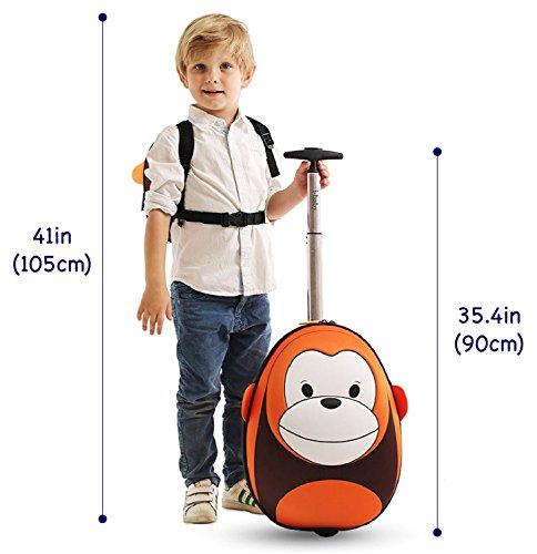 Imagen de i baby maleta infantil cabina con ruedas equipaje de viaje rigido  y bolsa para niños niñas ropa favoritos juguetes 3d dibujos animados mono marrón para chicos chicas 4 10 años alternativa