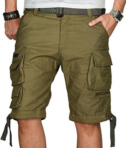 A. Salvarini Herren Designer Cargo Shorts Cargoshorts Kurze Hose Gürtel AS079 [AS-079-Olive-W33] (Designer Herren Gürtel)