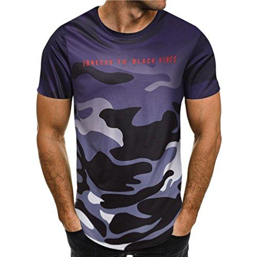 ASHOP Mode Persönlichkeit Camouflage Herren Casual Schlank Kurzarm-Shirt Top Bluse (S, Lila)
