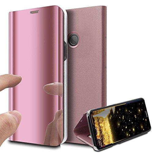 Preisvergleich Produktbild Huawei P20 Lite Hülle Luxus Spiegel Mirror Makeup magnetisch PU Leder Schutzhülle Handytasche Tasche mit Standfunktion Flip Hard Case Cover Hülle für Huawei P20 Lite, Rose Gold Mirror PU