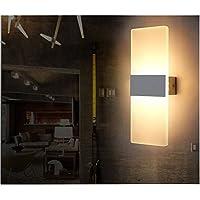 6W LED Lámpara de pared Interior,Moderna Apliques de Pared,Moda Agradable Luz de Ambiente ,perfecto para Lámpara de Decoración para, AC85-265V, 29×11×3.5cm,Blanco Cálido