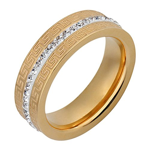 Aienid Femme Bague Anneaux Acier Inoxydable Great Wall CZ Canal Setting Taille 51.5