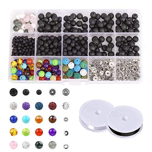 500 Stück 4-8 mm Lava Perlen Kit für DIY Schmuck Machen vulkanischen Chakra Spacer Bulk Perlen Halskette Armband liefert mit Kristallschnur - Perle-perlen-halsketten-bulk
