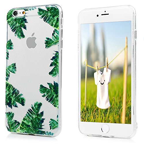 Badalink Coque pour iPhone 6 Plus / iPhone 6S Plus, Etui en TPU Silicone Souple Relief Coque de Protection Ultra Mince Scratch Cas de Téléphone Peint Coloré Couverture Arrière - Rose Feuille Verte