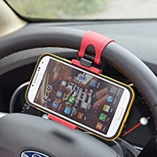 MMOBIEL Universal Portable Steering Wheel Mobile Phone Holder/Mount / Clip/Buckle Socket Hands Free for All Smartphones with Max 5.5 Inch Screen Size