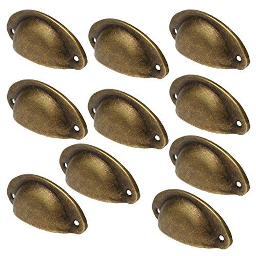 Lot de 10 Poignée Bouton de Porte Décoration pour Meuble Tiroir - Laiton Antique