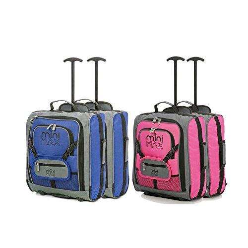 Set di MiniMax bambini / Bambini Deposito avanti trolley valigia con lo zaino e il sacchetto per la vostra bambola preferita / Action Figure / Bear (Blu x2 + Rosa x2) Blu x2 + Rosa x2