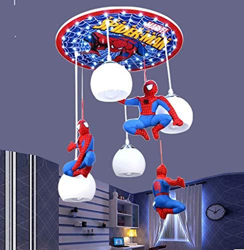 LED Deckenleuchte Pendelleuchte Deckenlampe Kinderzimmer Hängeleuchte Karikatur Spiderman Design 4-flammig Glas Schatten Wohnzimmer Junge Mädchen Kronleuchter Esszimmer E27 Lampe Blau Schlafzimmer