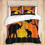 NISENASU Bedruckter Bettwäscheset,Afrikanischer Sonnenuntergang Tierelefant Schatten,Mit Kissenbezug Bettwäsche Bettbezug,Single 135 * 200cm