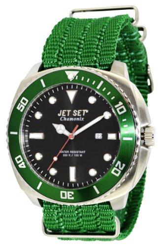 Jet Set–j27703-264–Chamonix Nylon Strap Men's Watch–Analogue Quartz–Black Dial–Green