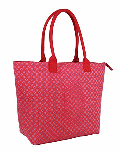 Da donna grande Borsa Shopper Borsa da spiaggia in tela a righe leggero Borsa a tracolla Holiday multicolore Polka Dot Black large Wallflower Fuchsia