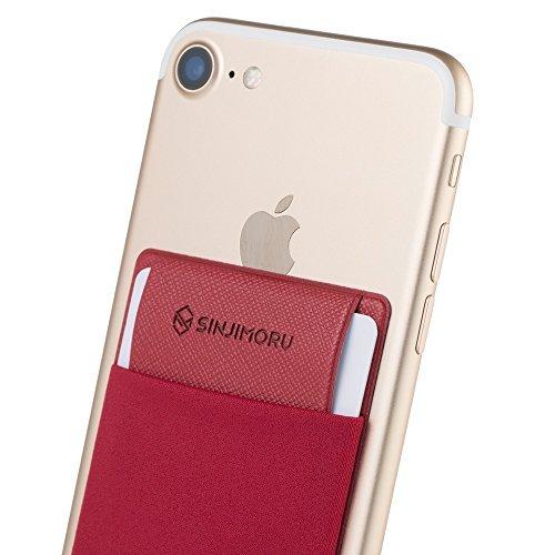 Sinjimoru Smartphone Kartenhalter/Smart Wallet/Kartenfach mit Verschluss/Kartenetui/aufklebbare Mini Geldbörse mit Sicherungslasche für iPhone und Android. Sinji Pouch Flap, Rot.