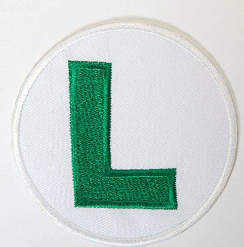 Luigi L Logo Patch Embroidered Iron on Badge Aufnäher Kostüm Cosplay Mario Kart/SNES/Mario World/Super Mario Brothers/Mario ()