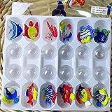 THREE 12 pz Custom soffiato a Mano Vetro Murano Galleggiante Pesci Tropicali Mini Figurine Acquario Decorazione Pendente Statue di Vetro Animale, Multi-Colored