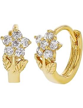 In Season Jewelry Creolen vergoldet mit 18Karat, Zirkonia, Blumen-Design eng anliegende Ohrringe für Baby-Mädchen...