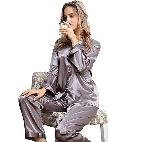 Ensemble de Pyjama en Satin à Manches Longues pour Femmes XS~3XL plus Gray