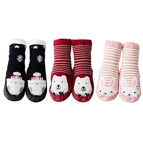 FYGOOD 3er Set Unisex-Baby Socken Hüttenschuh, Cartoon Anti-Rutsch Boden Socken Rutschsocken Eule-Bär-Hase XS(0-10 Monate/Sohlenlänge: 12cm)
