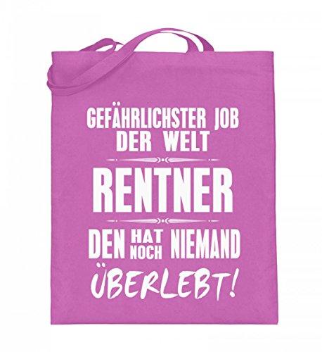 Hochwertiger Jutebeutel (mit langen Henkeln) - Rentner - Gefährlichster Job der Welt Pink
