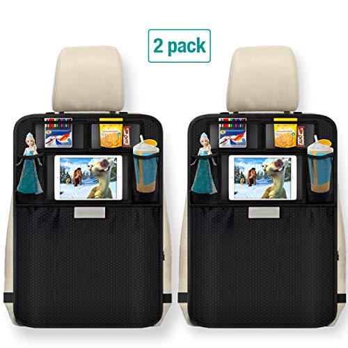Aomaso Kick Mats 2-Pack con Organizador Asiento Coche, Organizador con Bolsillo, Respaldo de Asiento Fundas para Asientos de Coche, SUV, Camioneta o Camión, Auto Accesorios y Protector de Pantalla para Niños