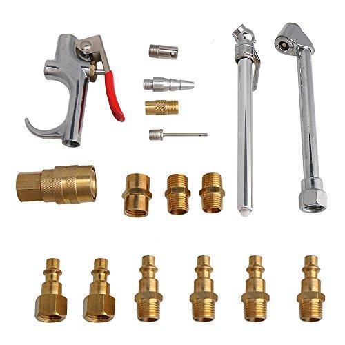 bqlzr Messing Kupfer Air Kompressor Gebläse Werkzeug Kit Chuck Connector Koppler für pneumatische Reinigung Pack Von 17 (Line-gebläse-kit)