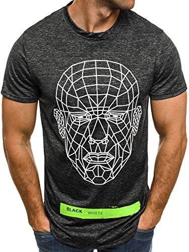 OZONEE Herren T-Shirt mit Motiv Kurzarm Rundhals Figurbetont J.STYLE SS069 Schwarz_J.STYLE-SS069