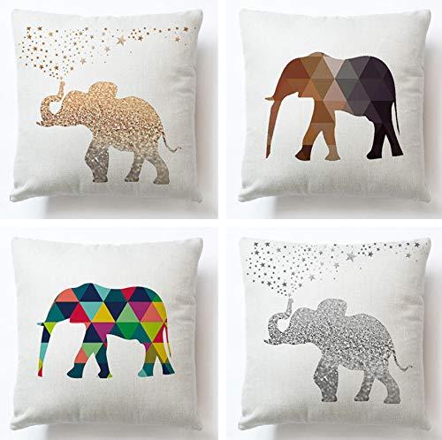 JZZCIDGa Juego De Fundas De Cojines para Elefantes Art, 4, Sofá Funda...