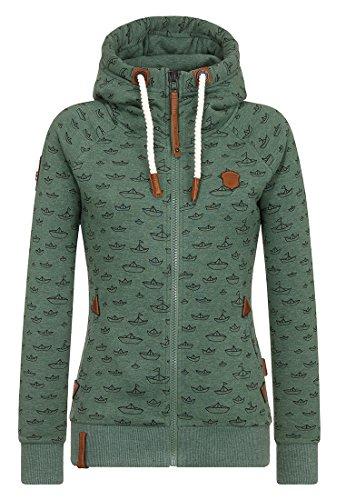 Naketano Female Zipped Jacket Speed Ferocity Training Pine Green Melange, L (Pine Bekleidung Green)
