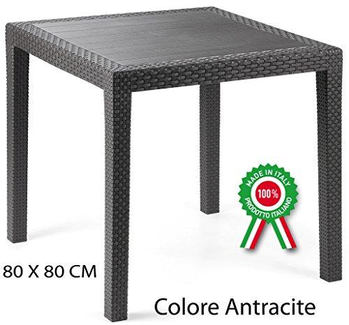 PROGARDEN Tavolo tavolino King in Dura Resina Finto Rattan Vimini Nero Antracite Bar casa