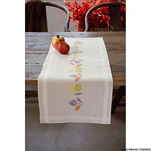 Vervaco Tischläufer Farbige Blätter Stickpackung/Läufer im vorgedruckten/vorgezeichneten Kreuzstich, Baumwolle, Mehrfarbig, 40 x 100 x 0.3 cm