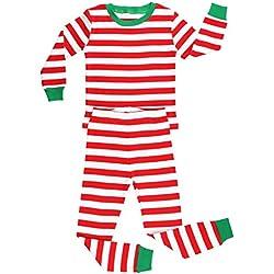 Elowel Pijama para bebe unisexo chicas chicos, (talla 6 m-14 anos), algodon, con diseno de rojo y blanco Rayas de Navidad 3 Anos