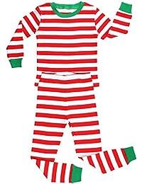 Elowel - Pijama para bebe unisexo chicas chicos, (talla 6 m-14 anos), algodon, con diseno de rojo y blanco Rayas de Navidad