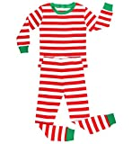 elowel Boys Girls Christmas Striped 2 Piece Kids Pajamas Set 100% Cotton 6M-14Y Red & White (8 Years)