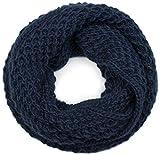 styleBREAKER Unisex Strick Loop Schal grob gestrickt, Uni Schlauchschal, Winter Strickschal 01018157, Farbe:Midnight-Blue/Dunkelblau
