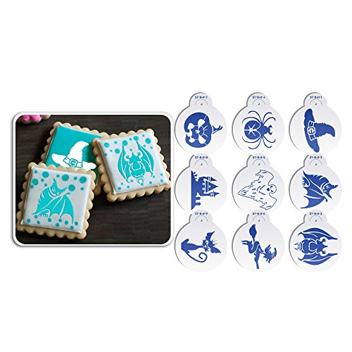 Art Geschirr 9 Halloween Cookie Schablone Set Cupcake Dekoration Schablone Vorlage Form zum Backen st-841 beige/halbtransparent (Dekoration Halloween Cookies Mit Royal Icing)