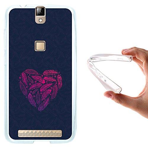 WoowCase Elephone P8000 Hülle, Handyhülle Silikon für [ Elephone P8000 ] Herzen aus Federn Handytasche Handy Cover Case Schutzhülle Flexible TPU - Transparent