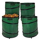 4x Abfallsack Garten Laubsack Gartensack Rasensack, Pop-Up, verstärkter Rahmen, 160 Liter, grün, faltbar