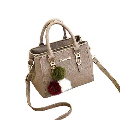 Modische Damen Messenger Bags BURFLY Damen Leder Handtasche Schultertasche Messenger Satchel Schulter Crossbodies Taschen (Khaki) (Überprüfen Messenger)