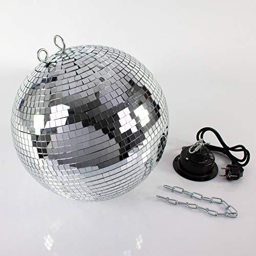 showking - Discokugel-Set GLIX Fever mit Drehmotor und Kette, Ø 40 cm, Silber - Spiegelkugel mit Motor und Extras