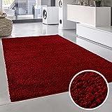 Plain Shaggy alfombra Plain rojo redondo y rectangular Oeko Tex diversos tamaños, polipropileno, Rojo, 150 cm_x_150 cm