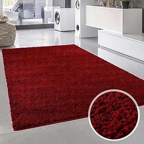 Uni Hochflor Shaggy Teppich Einfarbig Rot Neu Öko Tex 60x110 cm (Teppich Rot)