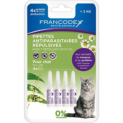 Pipetas antiparasitaires repulsives para gato de Plus de 2 kilos (Francodex)