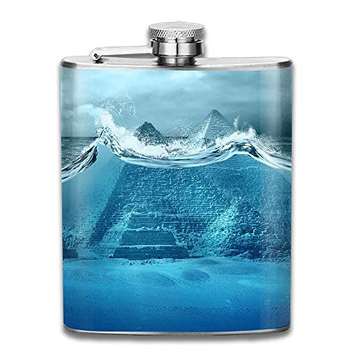 Presock Flachmann,Stainless Steel Hip Flask 7 Oz (No Funnel) Pyramids of Egypt Tsunami Attack Full Printed